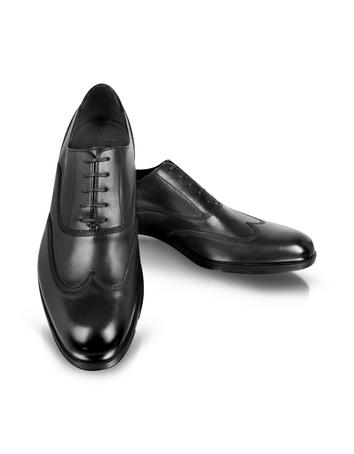 Brunei Black Leather Wingtip Oxford Shoes