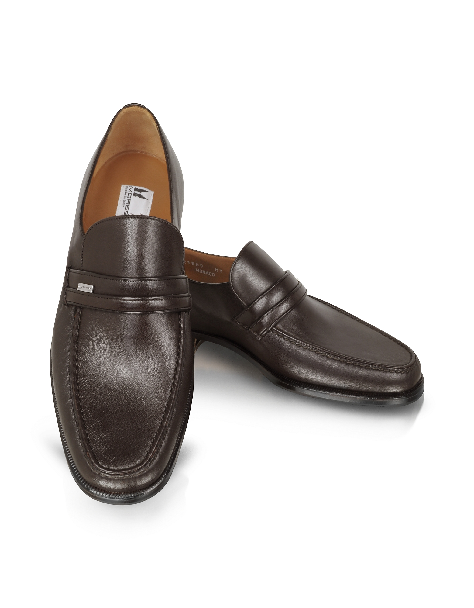 Moreschi Shoes, Monaco Wide Brown Leather Loafers