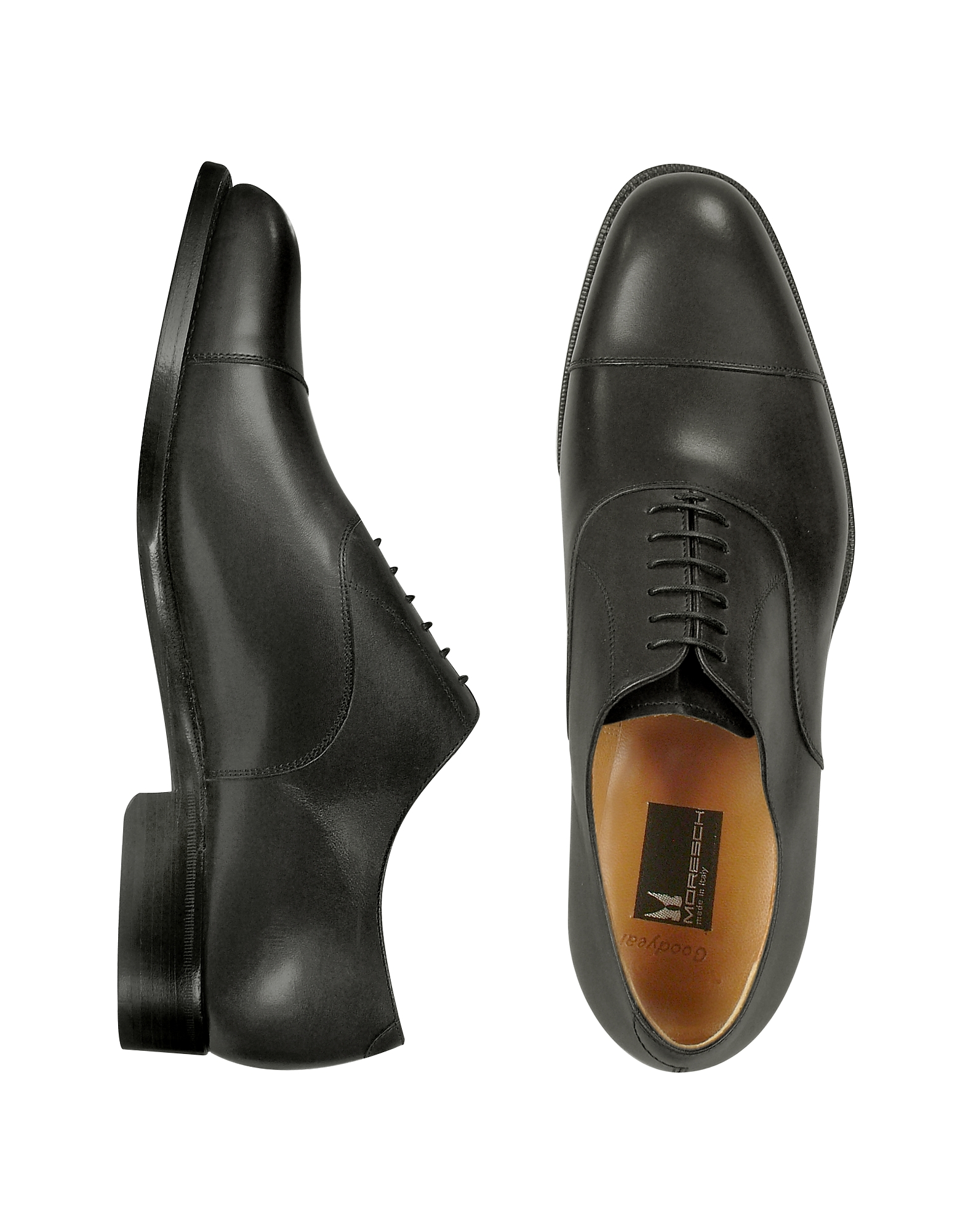 Moreschi Shoes, Londra - Black Calfskin Cap Toe Oxford Shoes