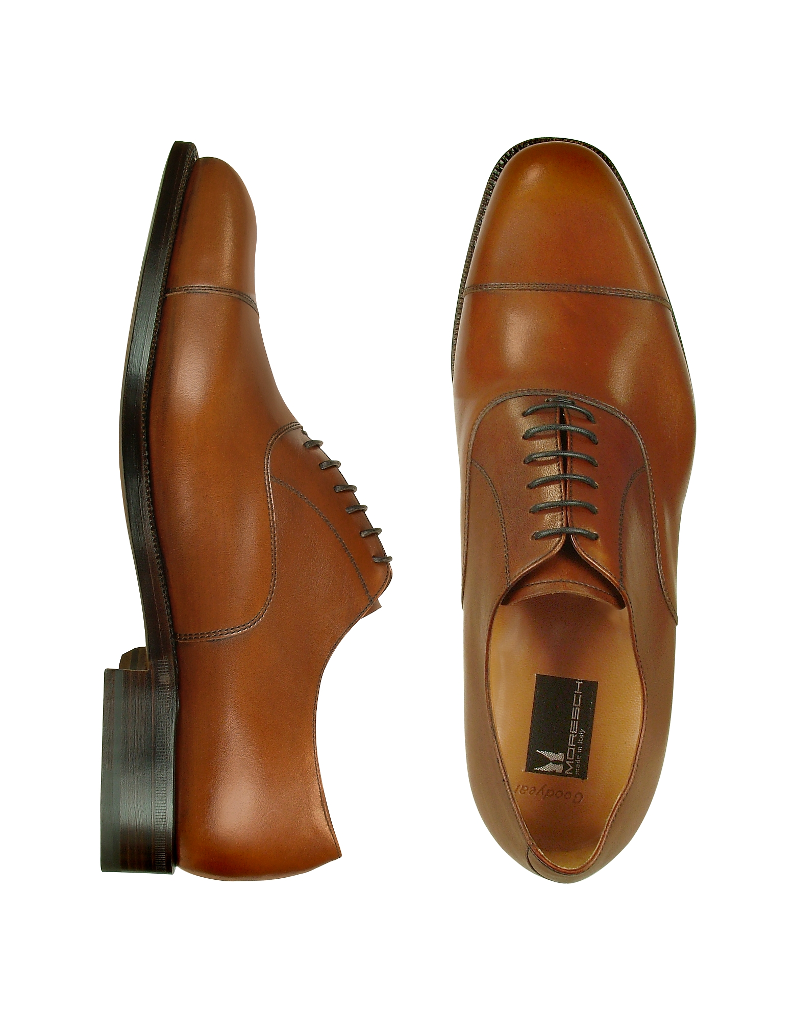 Moreschi Shoes, Londra - Tan Calfskin Cap Toe Oxford Shoes