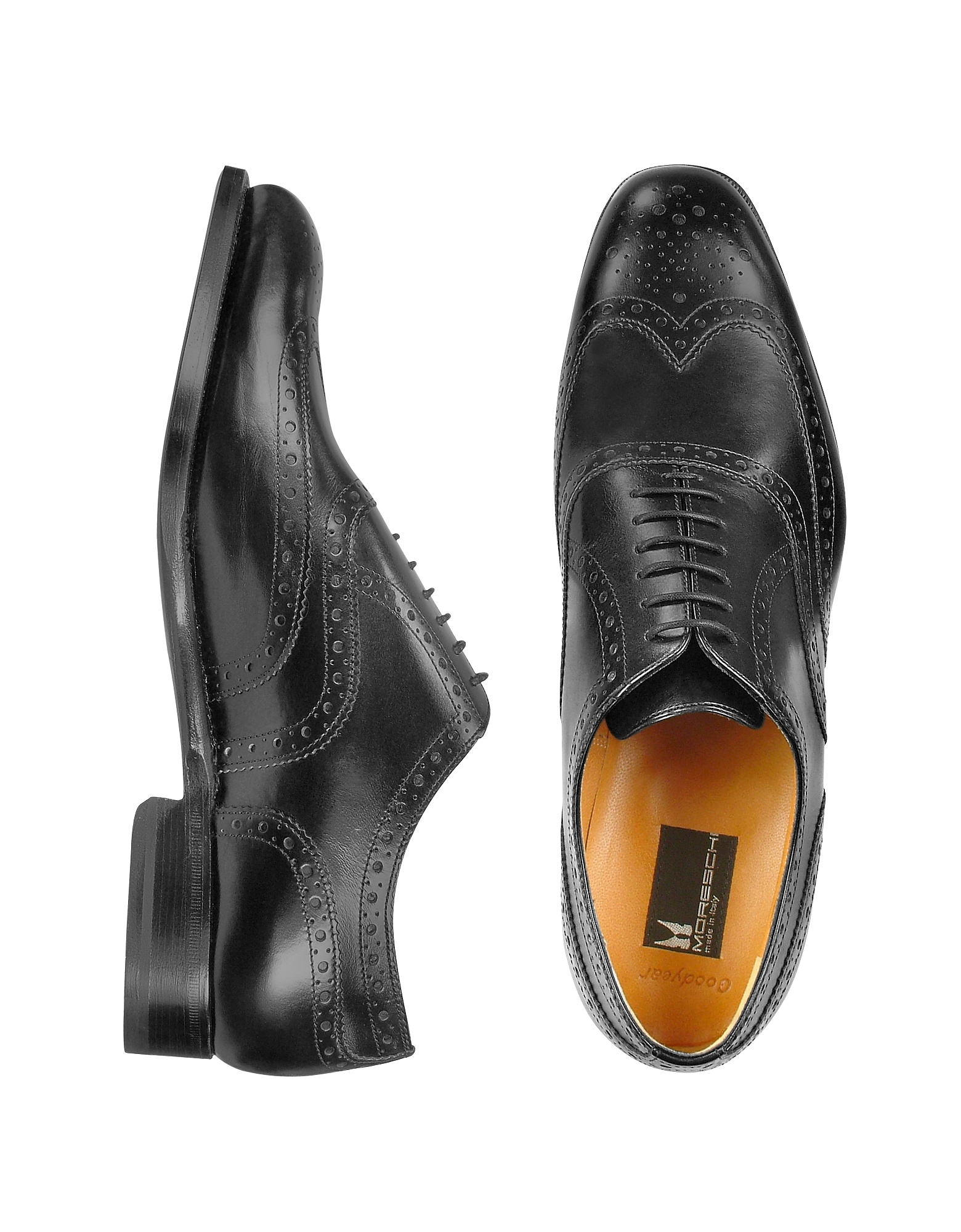 Moreschi Shoes, Oxford - Black Calfskin Wingtip Shoes