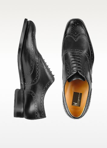 Oxford - Black Calfskin Wingtip Shoes - Moreschi