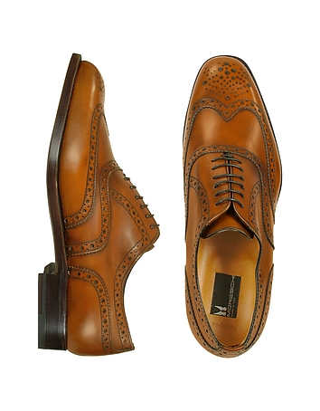 1940s Style Mens Shoes Oxford - Tan Calfskin Wingtip Shoes $698.00 AT vintagedancer.com