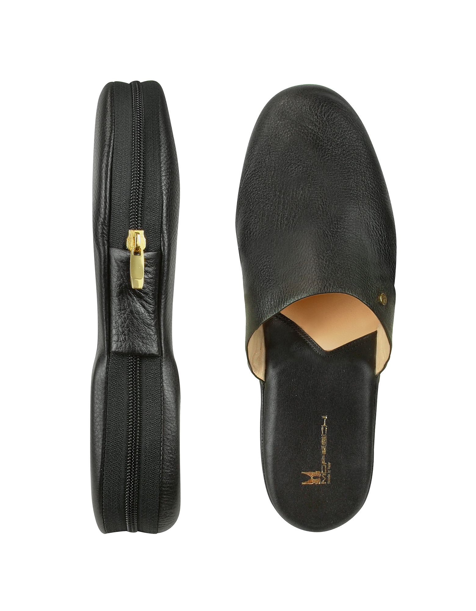 Moreschi Shoes, Amerigo - Black Calf Leather Travel Slippers w/Case