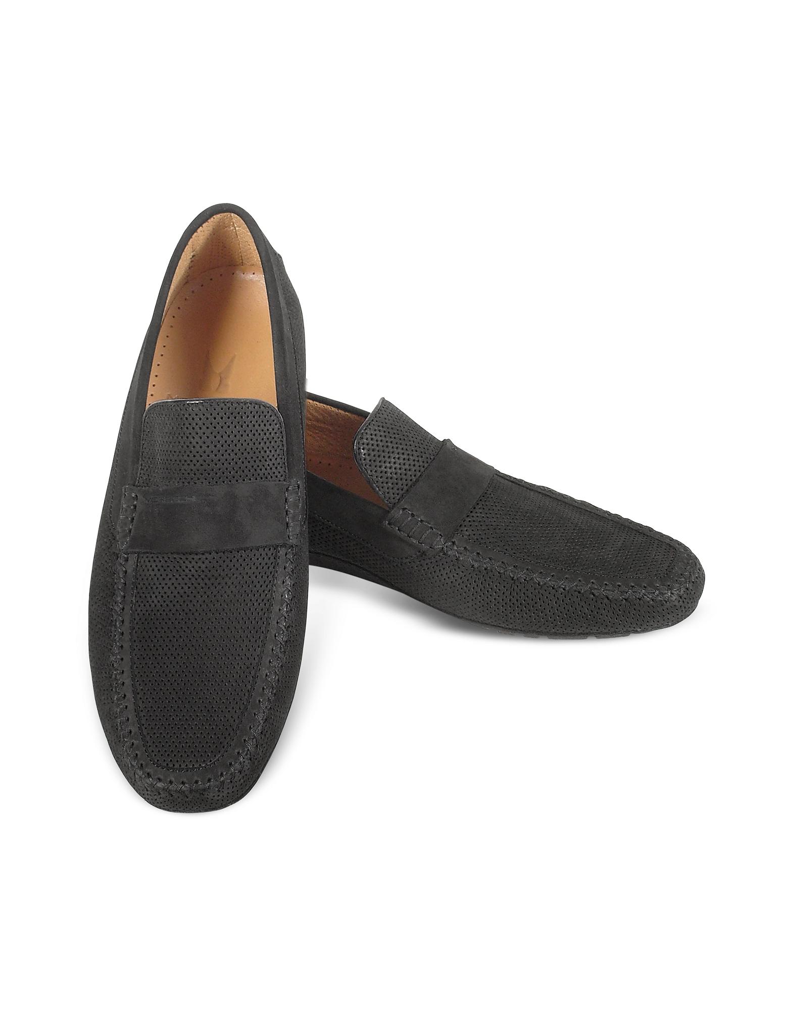 Portofino - Черные Перфорированные Замшевые Туфли для Вождения