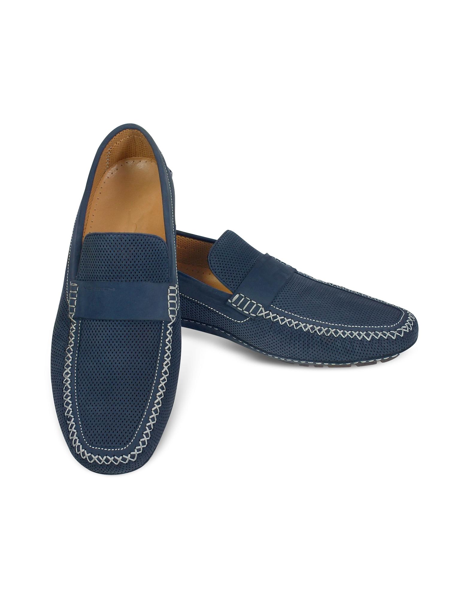 Portofino - Темно-синие Перфорированные Замшевые Туфли для Вождения