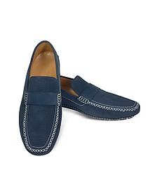Portofino - Navy Blue Perforated Suede Driver Shoes - Moreschi