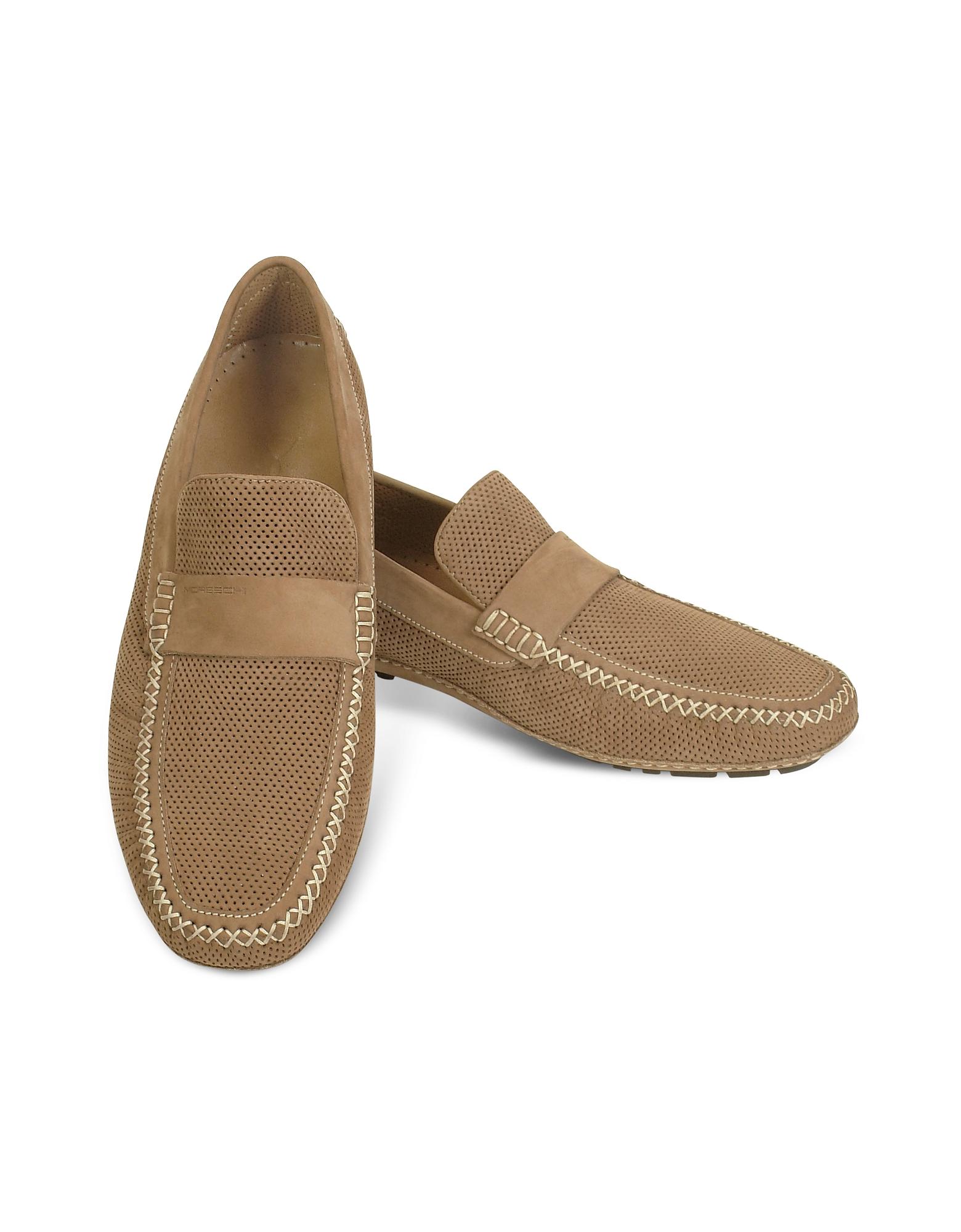 Portofino - Перфорированные Замшевые Туфли для Вождения Цвета Загара
