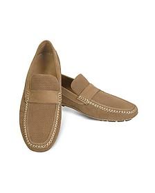Portofino - Tan Perforated Suede Driver Shoes - Moreschi