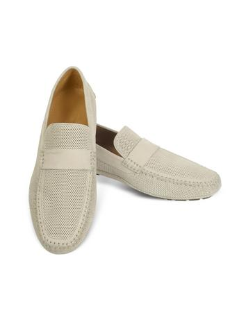 Portofino - Beige Perforated Suede Driver Shoes