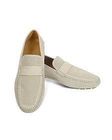 Portofino - Beige Perforated Suede Driver Shoes - Moreschi