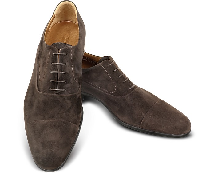 Dublin Dark Brown Suede Cap-Toe Oxford Shoes - Moreschi