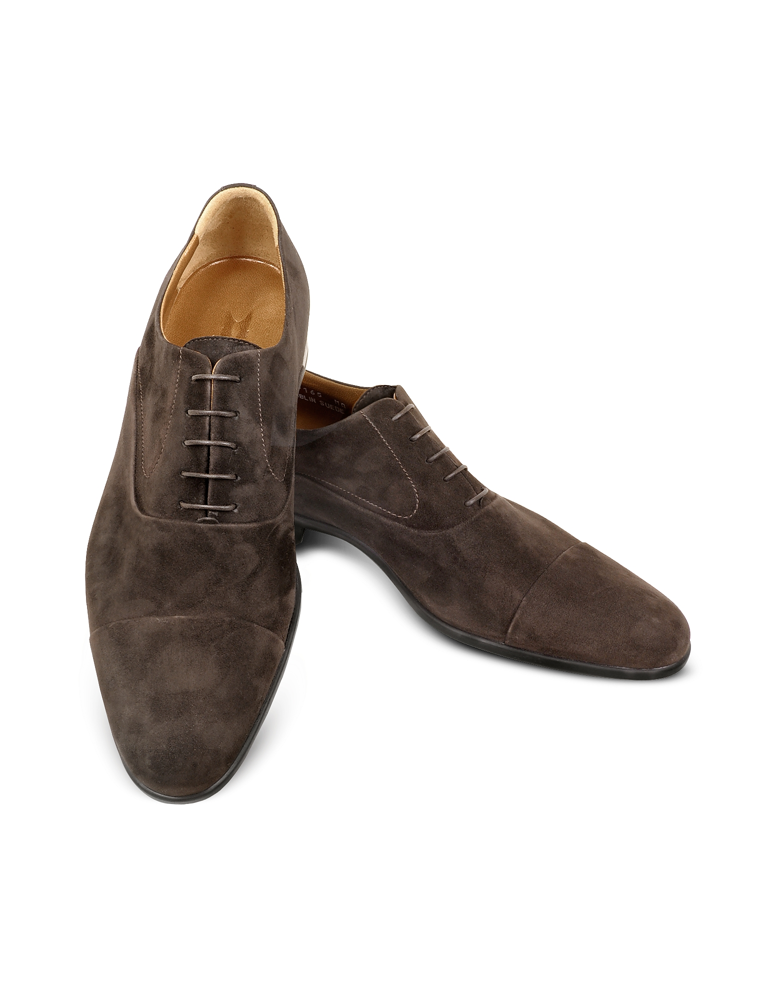 Moreschi Shoes, Dublin Dark Brown Suede Cap-Toe Oxford Shoes
