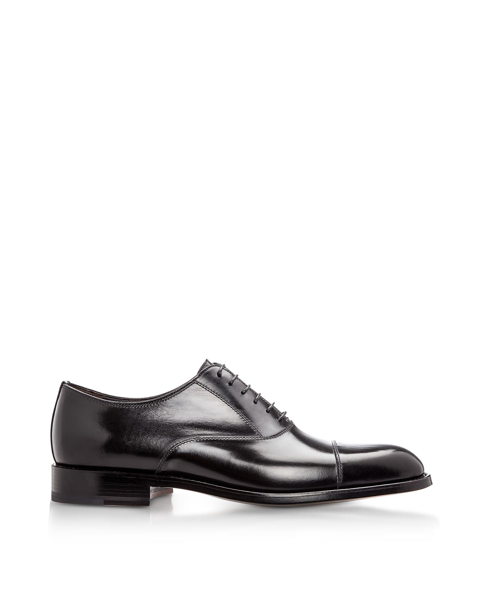 Moreschi Designer Shoes, New York Black M Calfskin Oxford Shoes