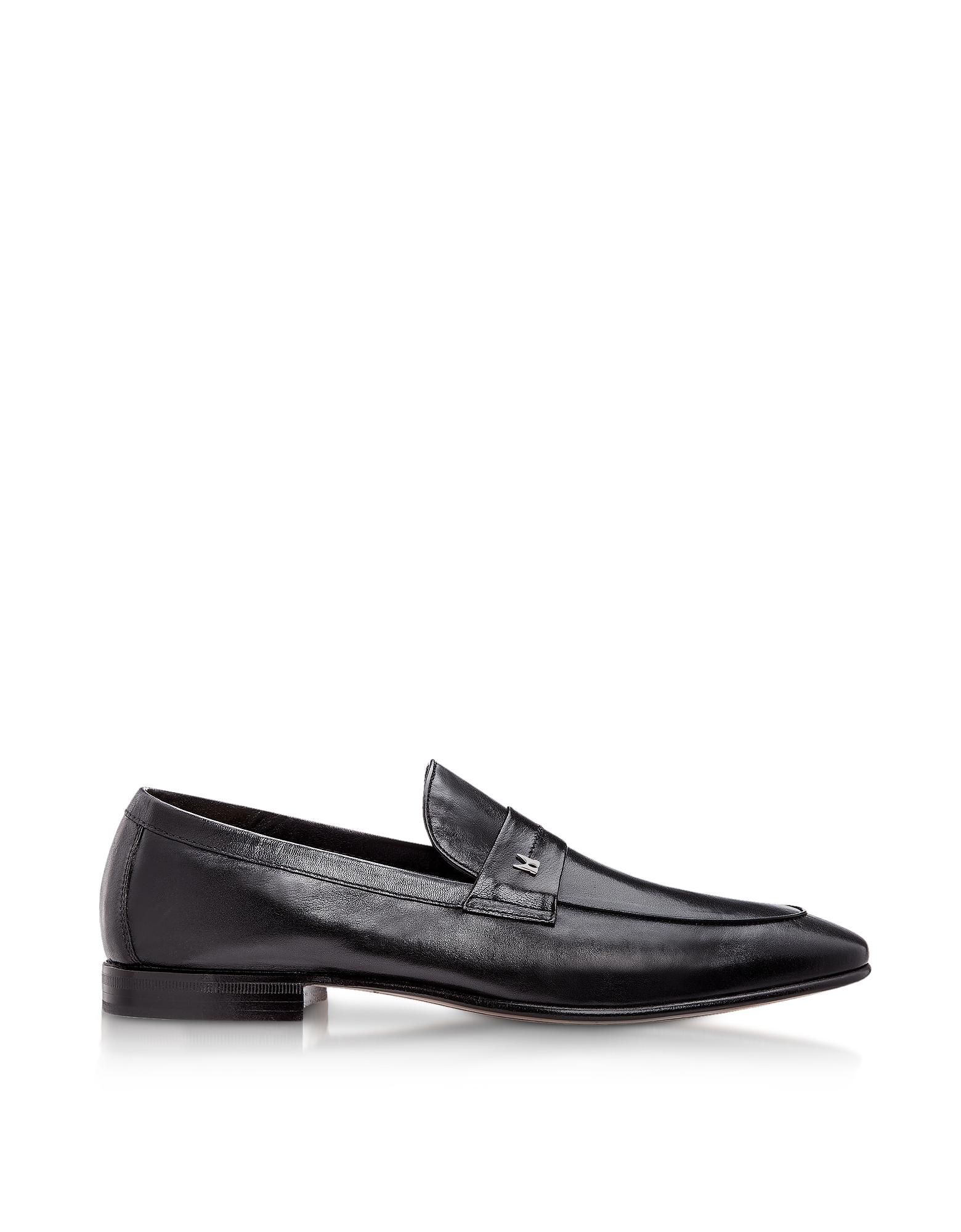 Moreschi Shoes, Brisbane Black M Kangaroo Leather Loafer Shoes