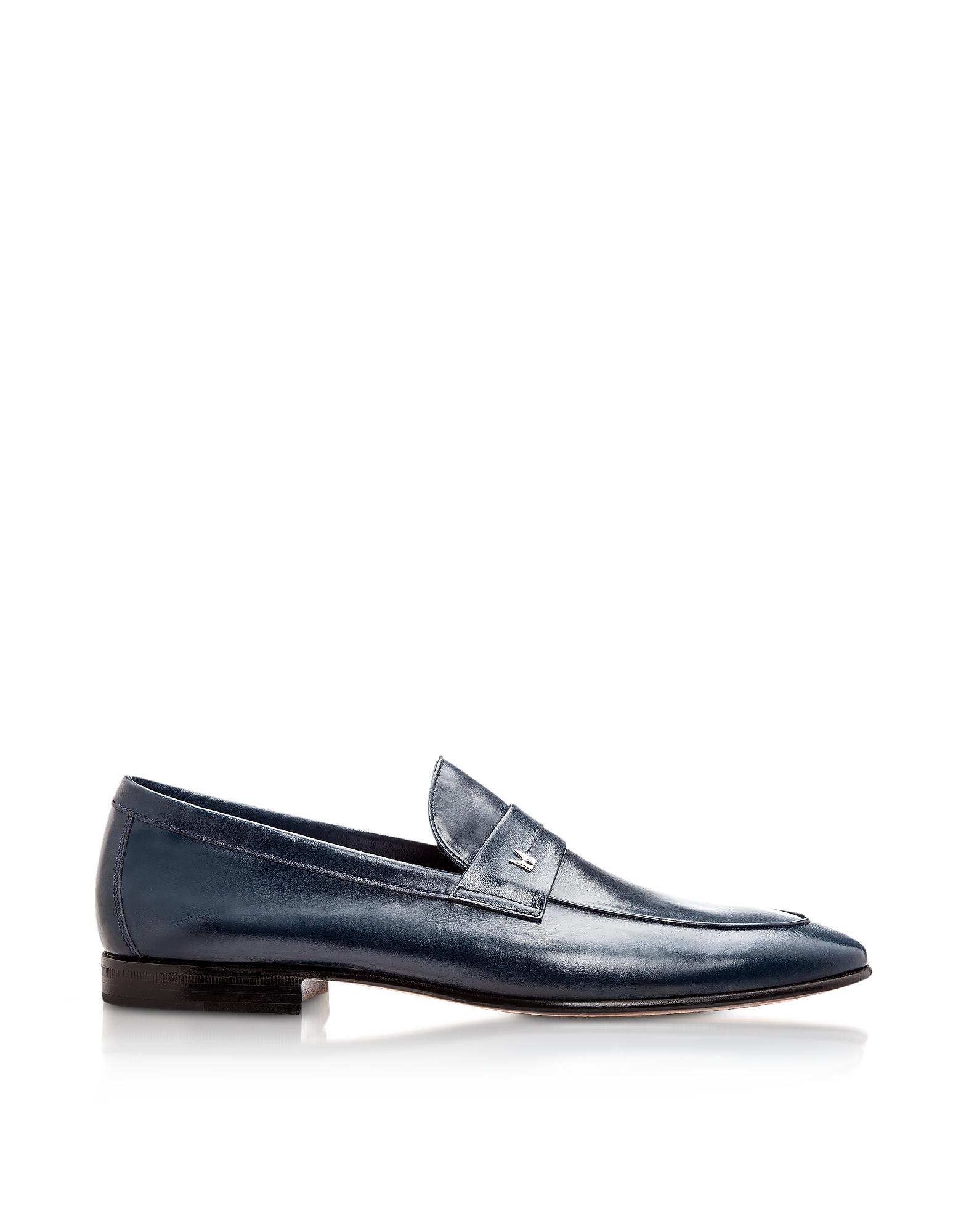 Moreschi Shoes, Brisbane Navy Kangaroo Leather Loafer Shoes