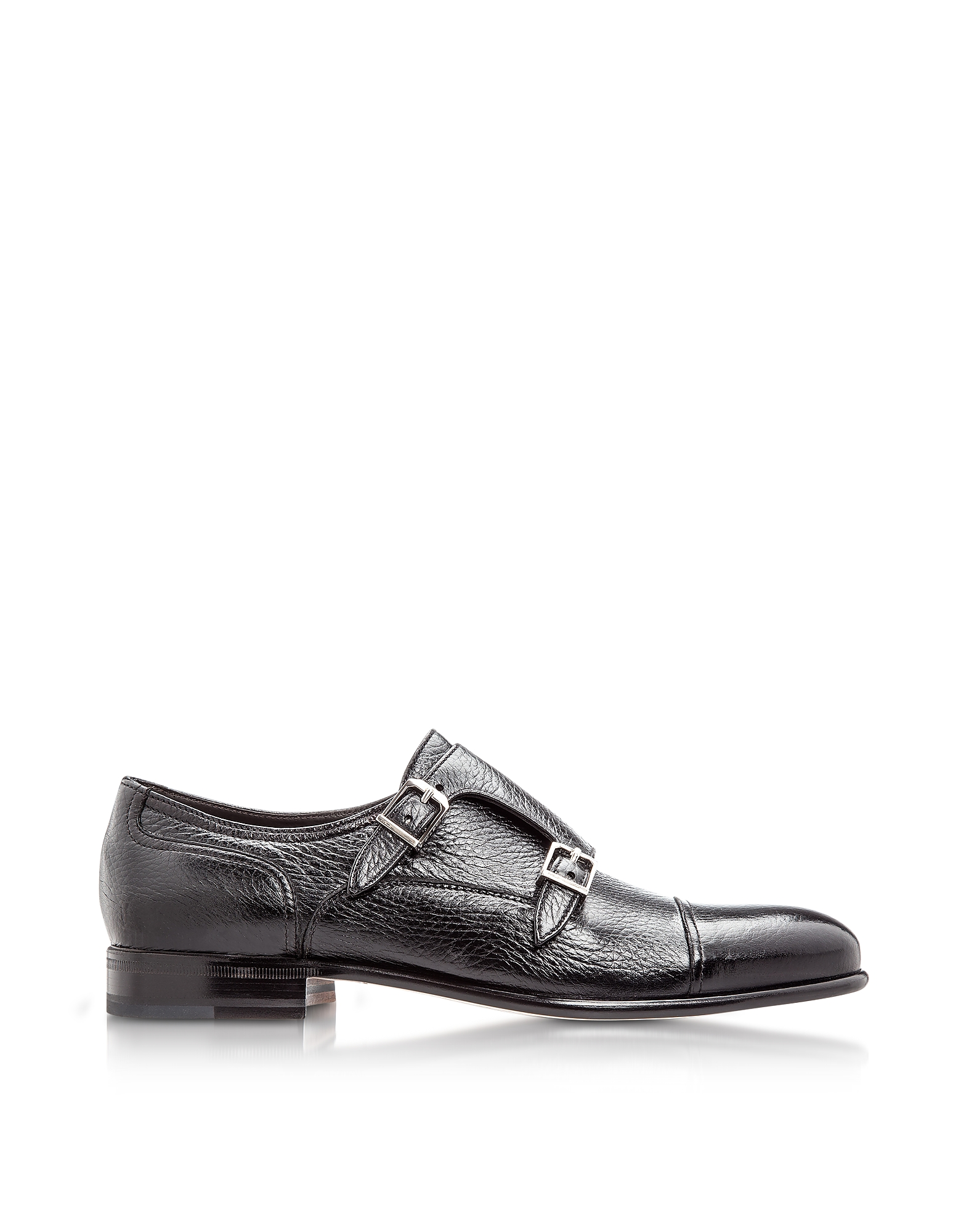 Moreschi Shoes, Eze Black Deerskin Monk Shoes