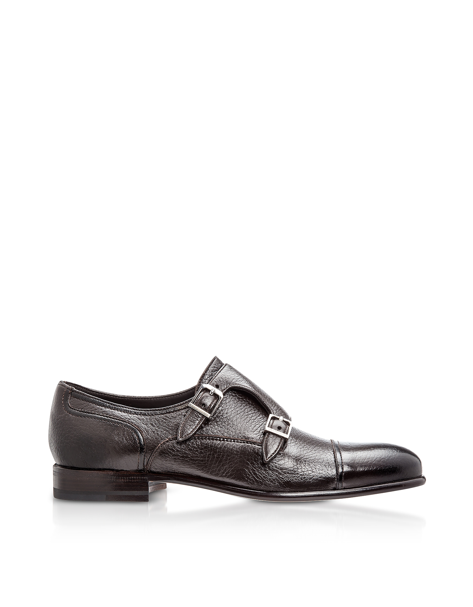 Moreschi Designer Shoes, Eze Dark Brown Deerskin Monk Shoes