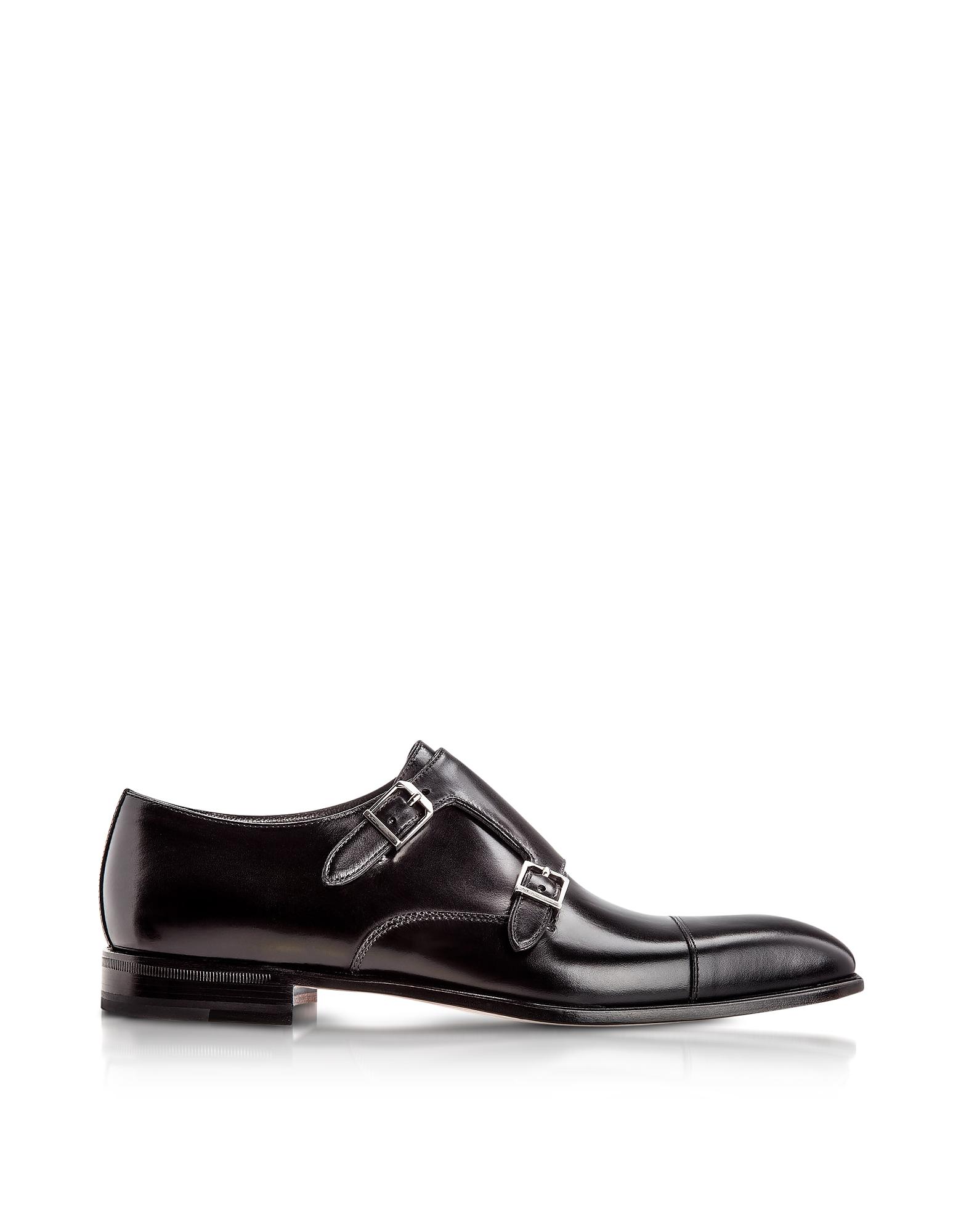 Moreschi Shoes, Toronto Black Calfskin Monk Shoes