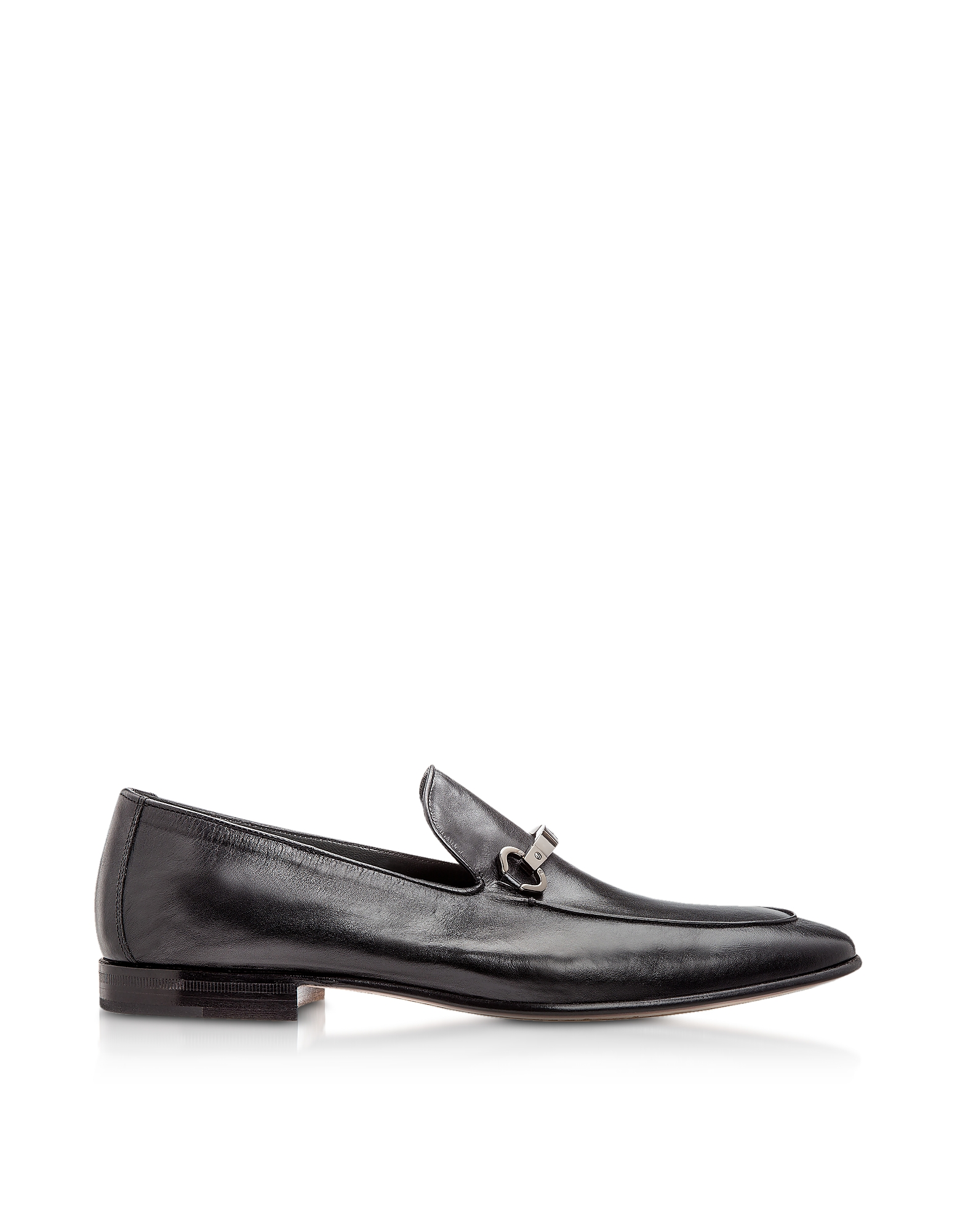 Moreschi Shoes, Adelaide Black Kangaroo Leather Loafer Shoes