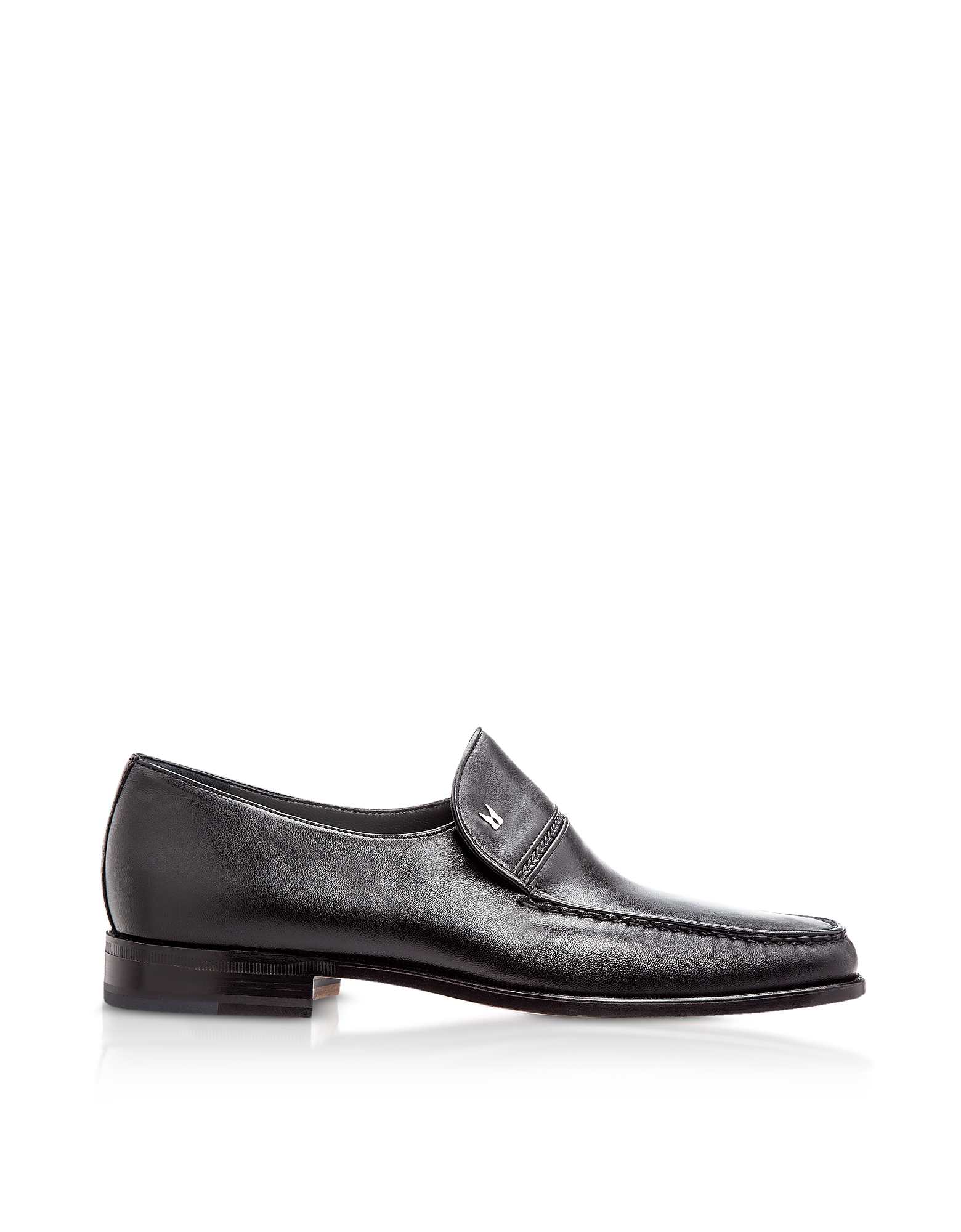 Moreschi Shoes, Bonn Black Lambskin Loafer Shoes