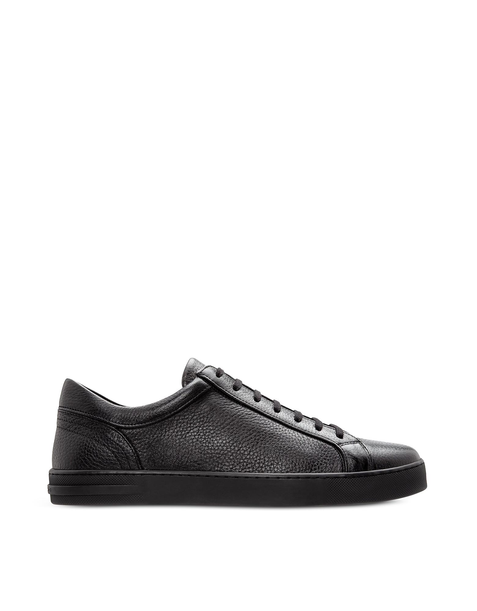 Moreschi Designer Shoes, Ibiza Black Deerskin Men's Sneakers