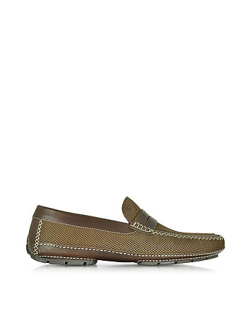 Moreschi - Bahamas Brown Perforated Nubuck Driver Shoes w/Rubber Sole