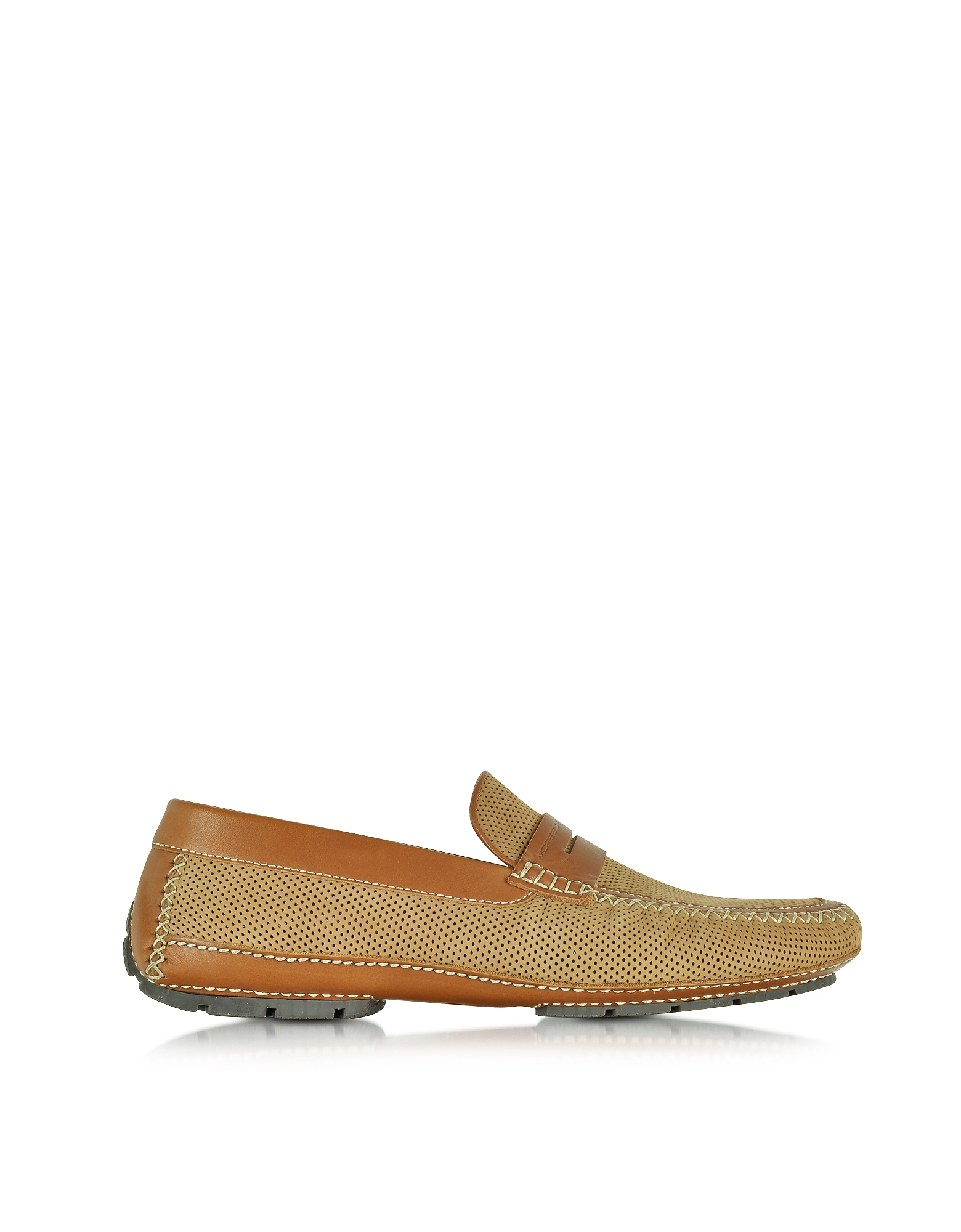 Moreschi Shoes, Bahamas Tan Perforated Nubuck Driver Shoes w/Rubber Sole