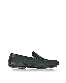 Bahamas Black Perforated Nubuck Driver Shoes w/Rubber Sole - Moreschi