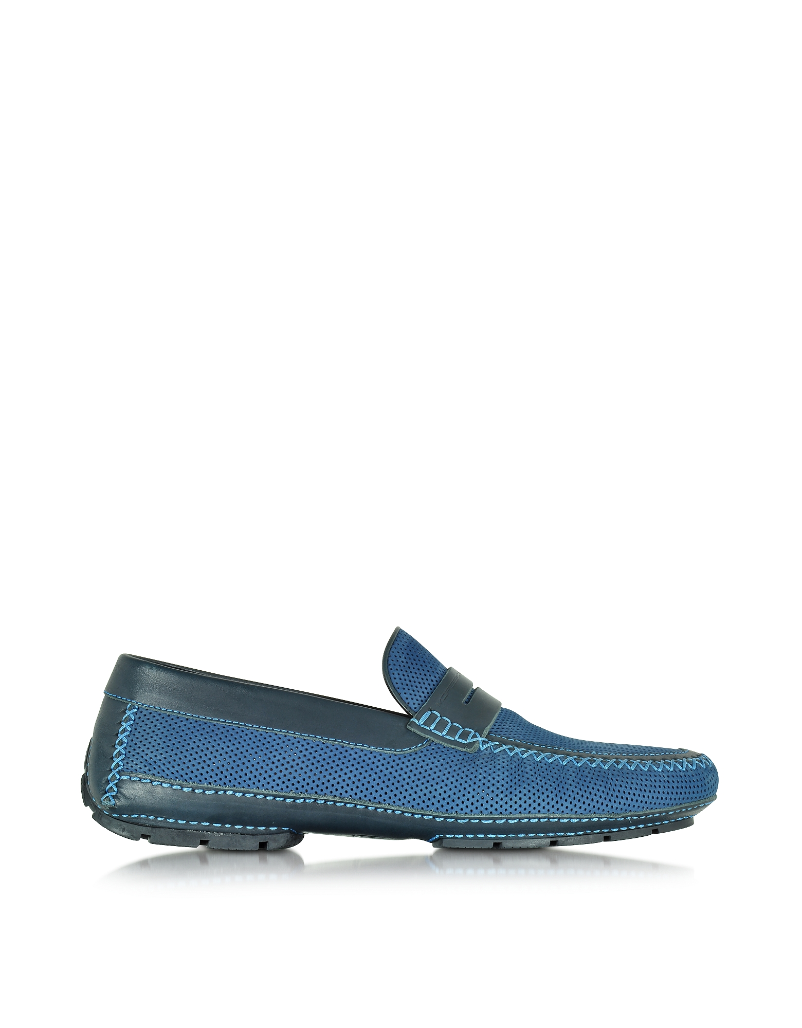Moreschi Shoes, Bahamas Blue Perforated Nubuck Driver Shoes w/Rubber Sole