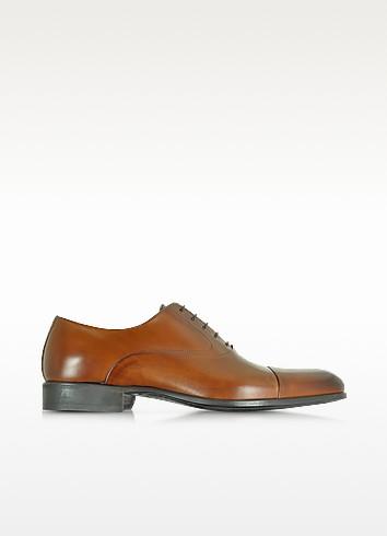 Dublin Tan Calf Leather Oxford Shoes w/Rubber Sole - Moreschi