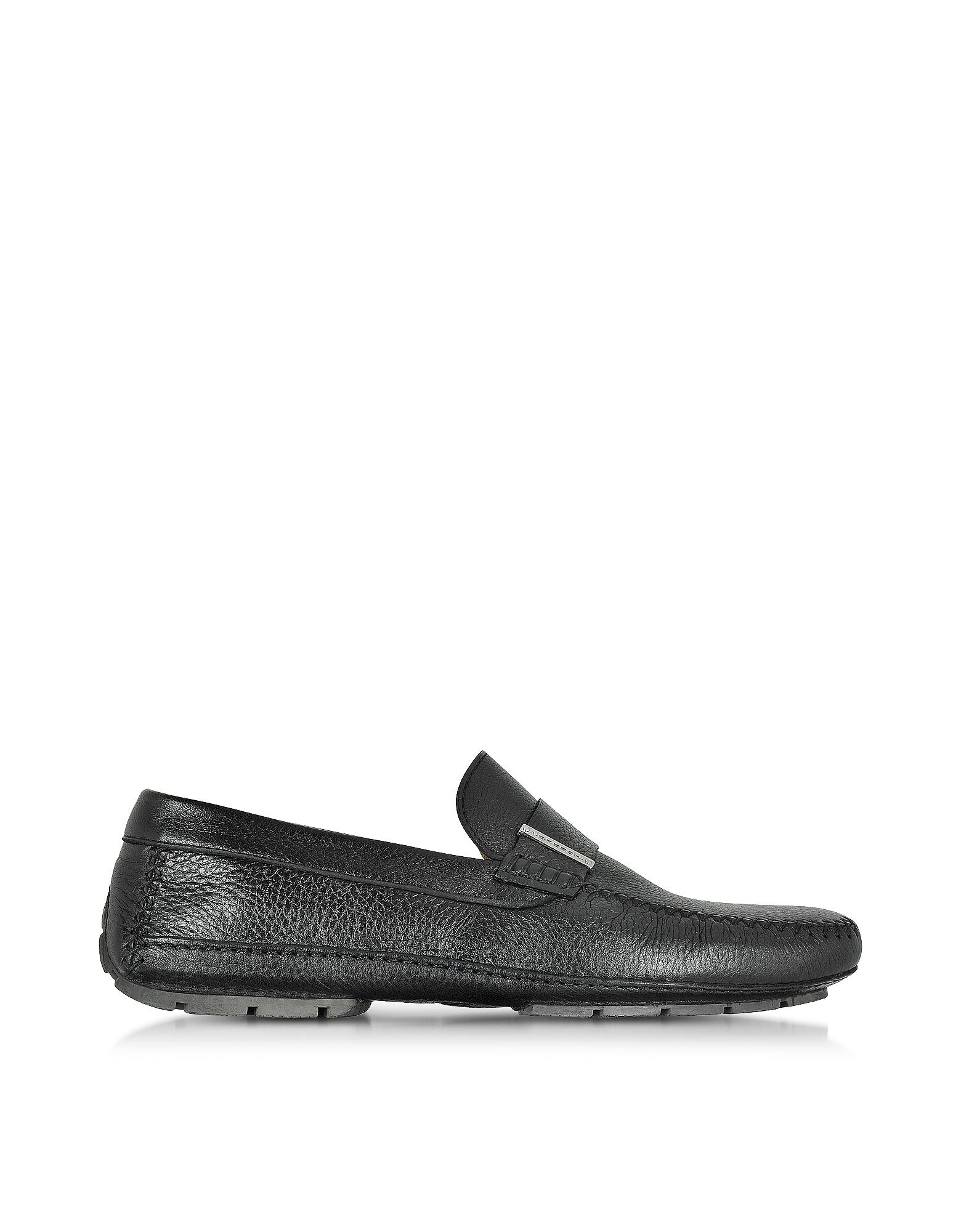 Miami - Черные Туфли для Вождения из Кожи Оленя с Резиновой Подошвой