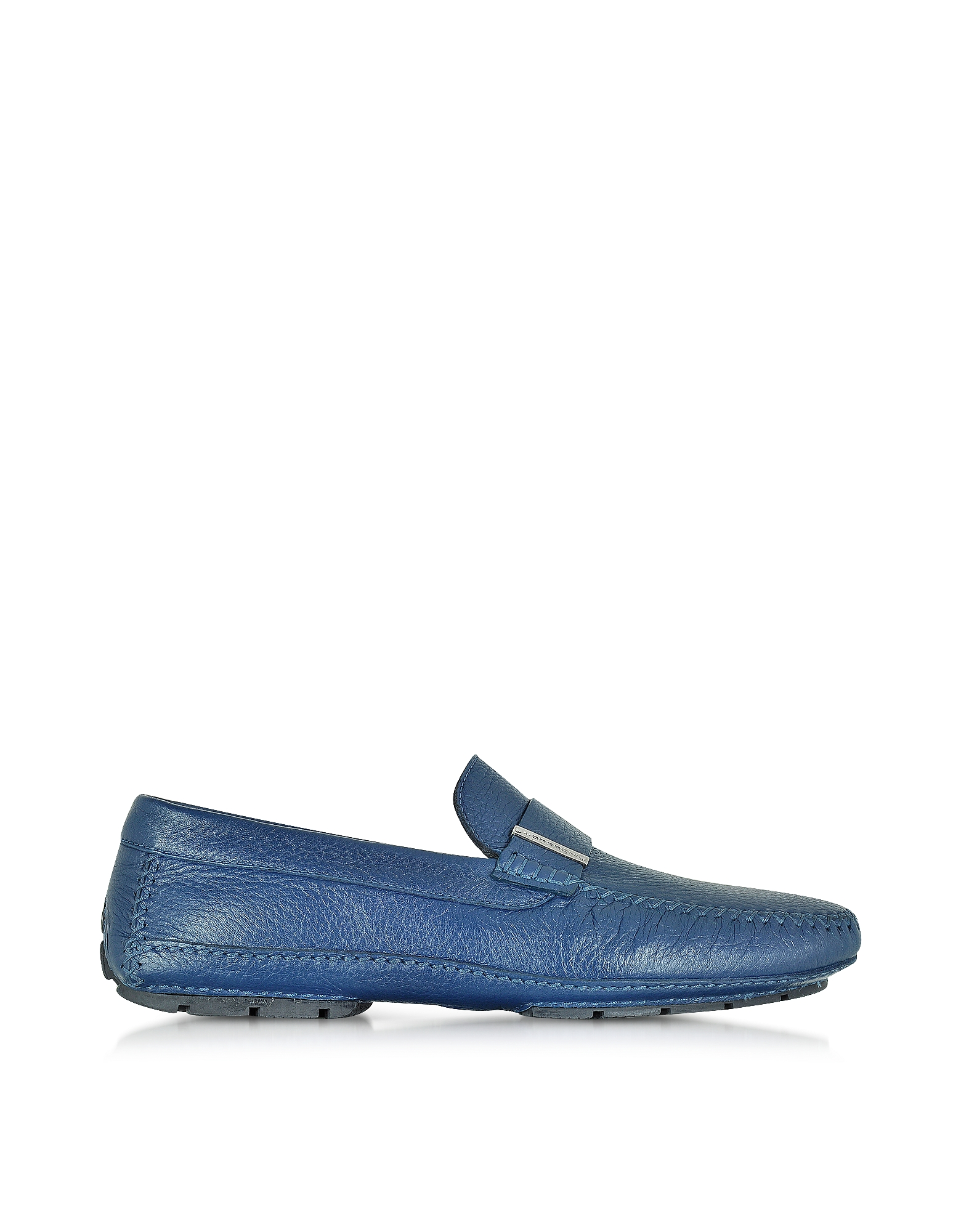 Moreschi Shoes, Miami Blue Deerskin Driver Shoe w/Rubber Sole