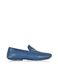 Miami Blue Deerskin Driver Shoe w/Rubber Sole - Moreschi