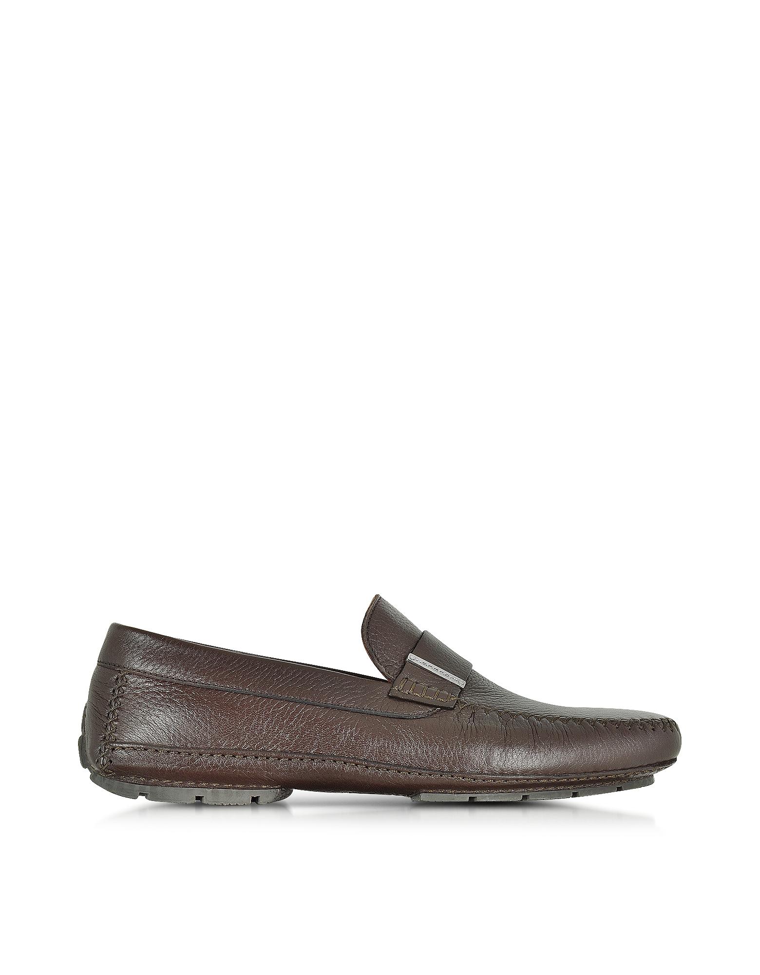 Miami - Темно-коричневые Туфли для Вождения из Кожи Оленя с Резиновой Подошвой