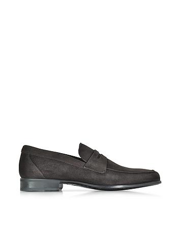 Moreschi - Graz Dark Brown Suede Loafer Shoe w/Rubber Sole