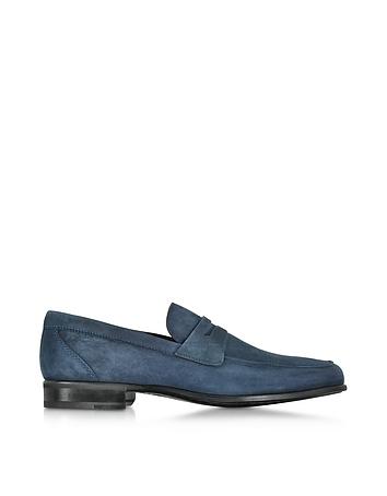 Graz Navy Blue Suede Loafer Shoe w/Rubber Sole