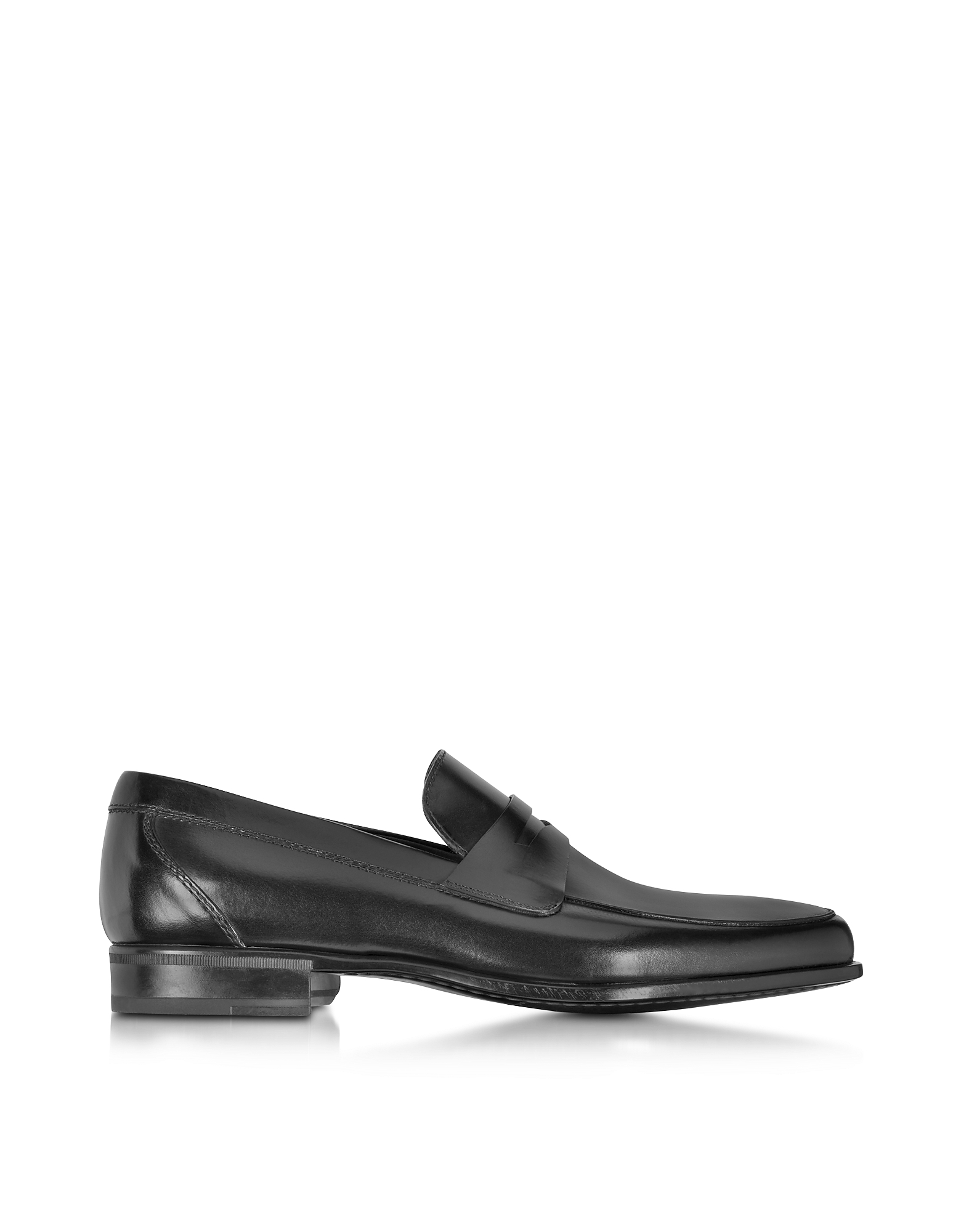 Moreschi Shoes, Graz Black Calf Leather Loafer Shoe w/Rubber Sole