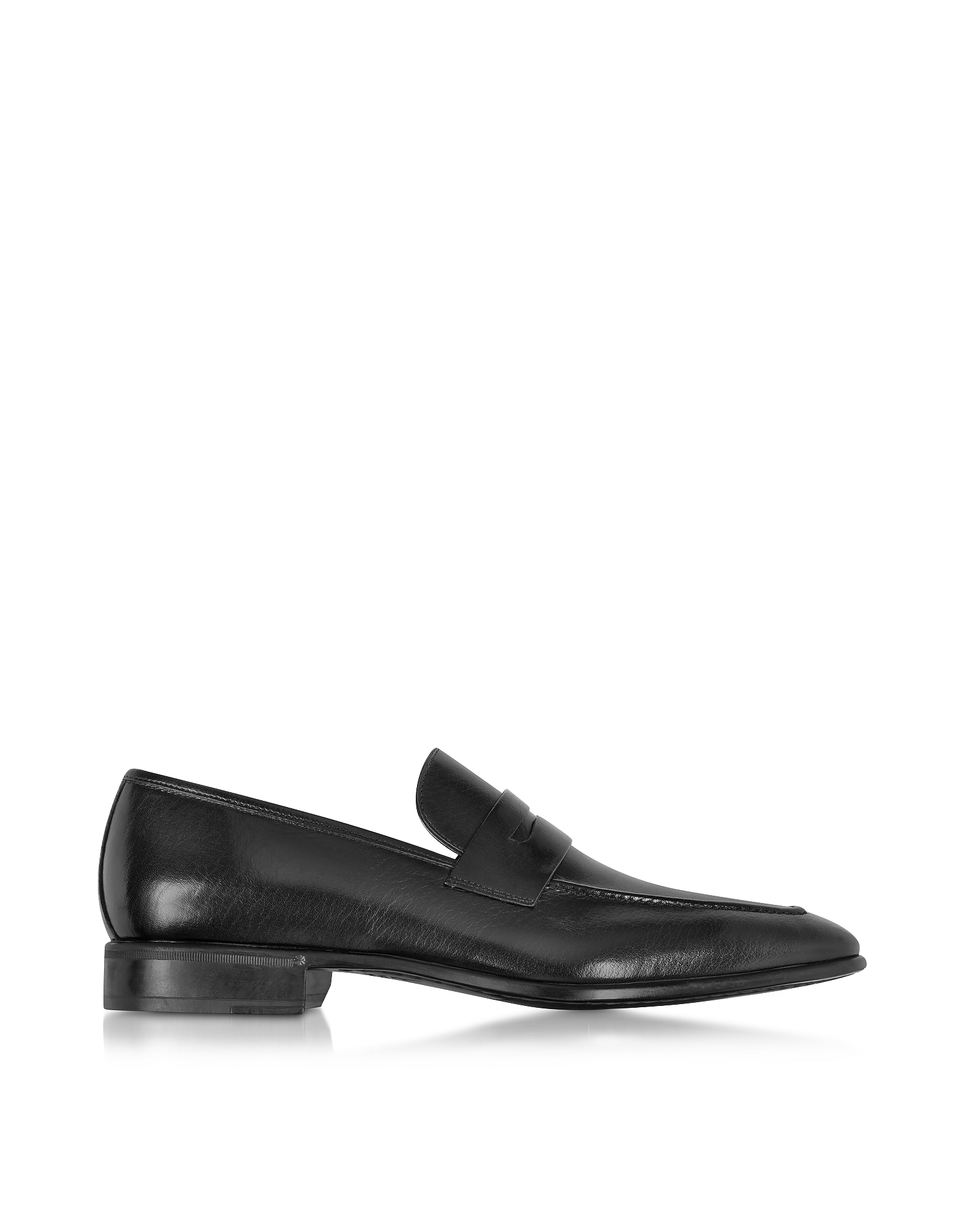 Moreschi Shoes, Liegi Black Buffalo Leather Loafer w/Rubber Sole