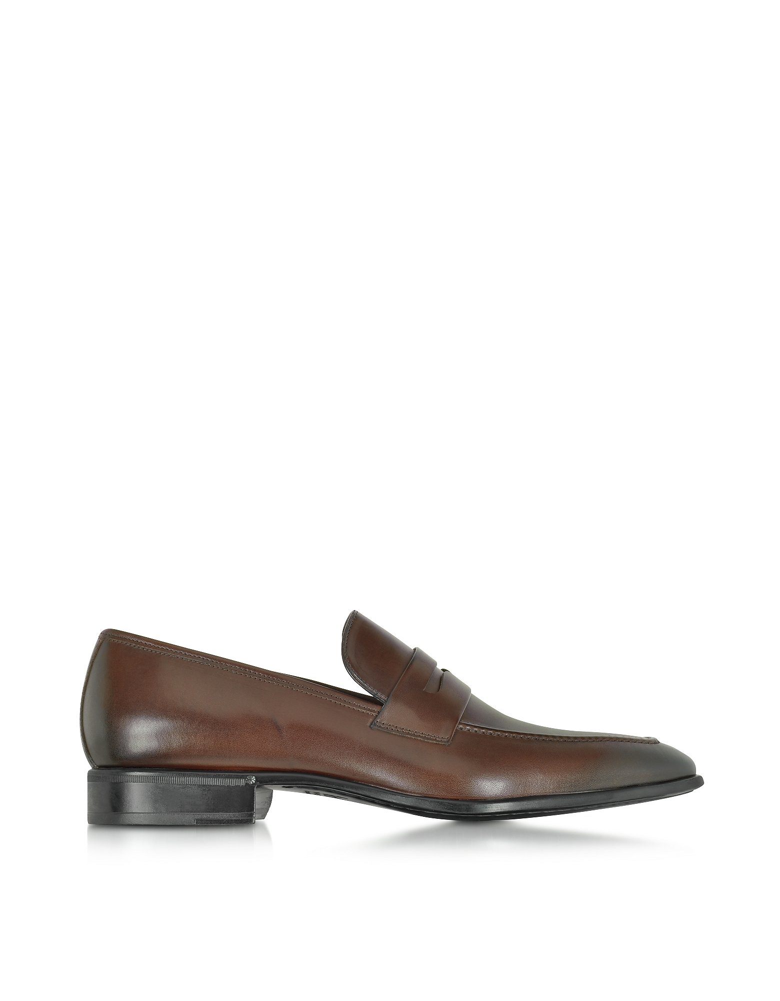 Moreschi Shoes, Liegi Dark Brown Buffalo Leather Loafer w/Rubber Sole