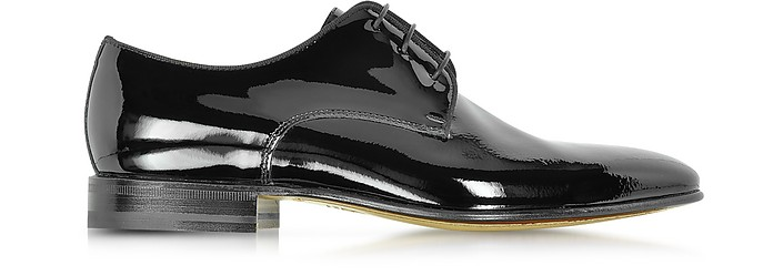 Linz Black Patent Leather Lace Up Shoe w/Rubber Sole - Moreschi