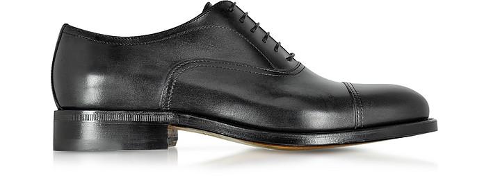Cardiff Black Genuine Leather Goodyear Oxford Shoe - Moreschi