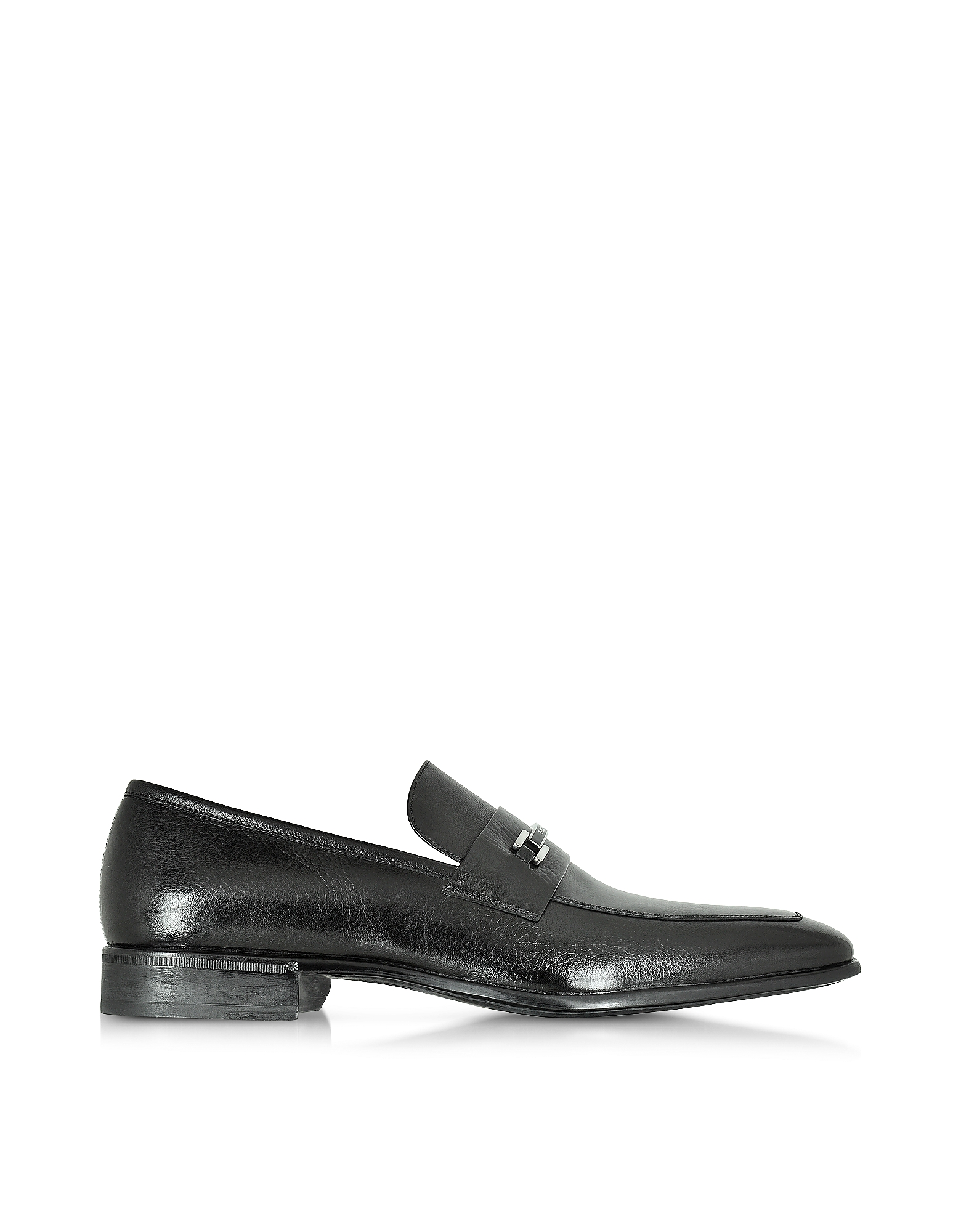 Moreschi Shoes, Santiago Black Signature Buffalo Leather Loafer Shoe w/Rubber Sole