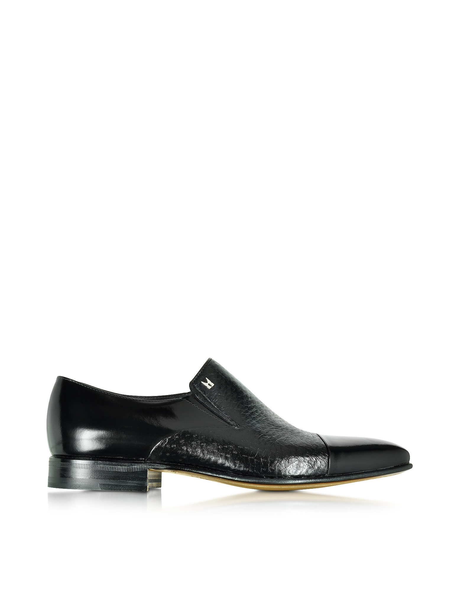 Moreschi Shoes, Metz Black Leather Slip on Loafer