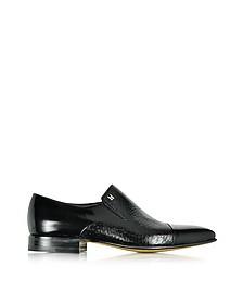Metz Black Leather Slip on Loafer - Moreschi