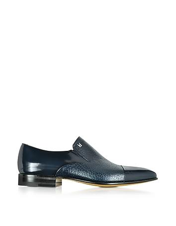 Metz Blue Leather Slip on Loafer