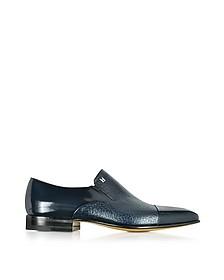Metz Blue Leather Slip on Loafer - Moreschi