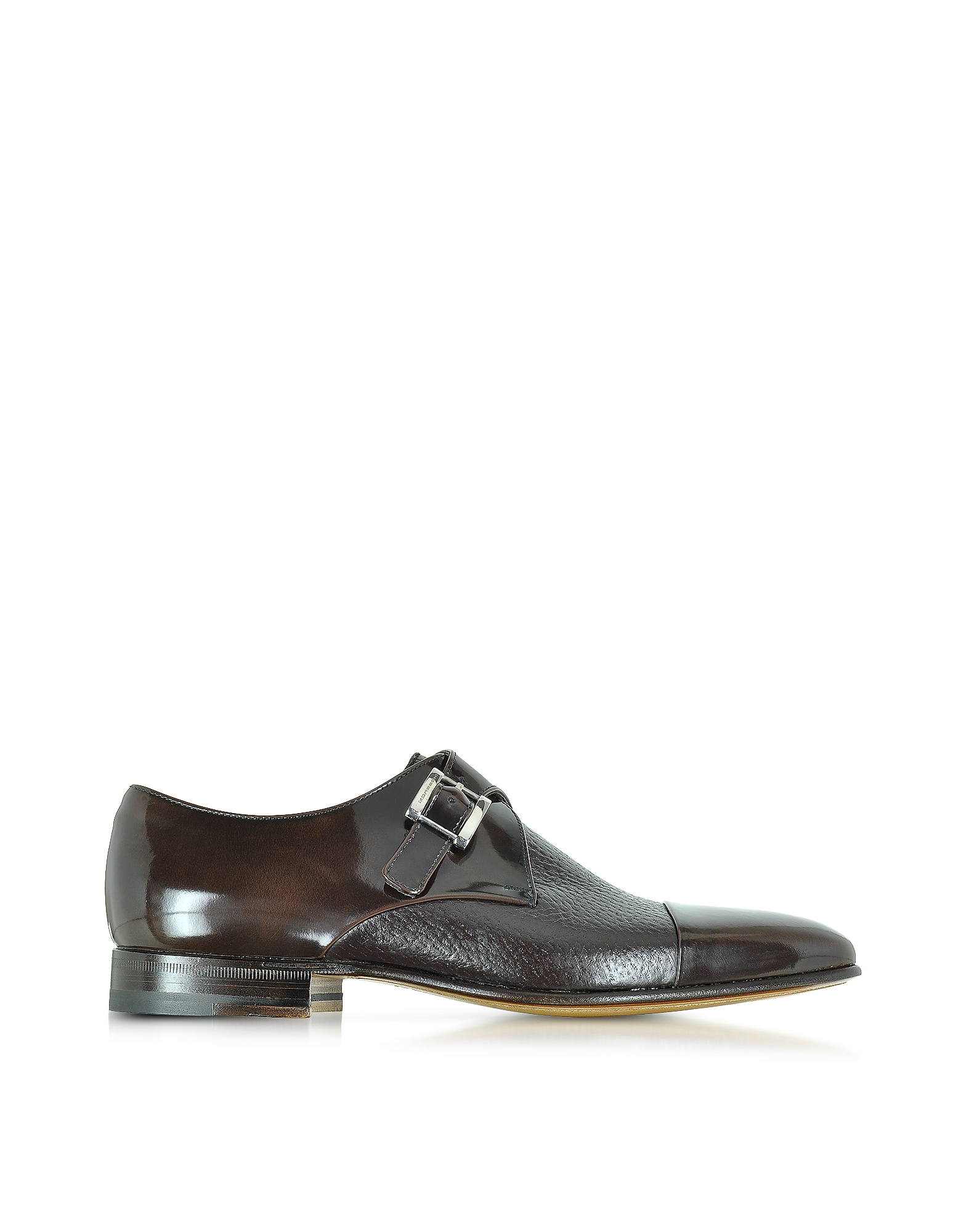 Moreschi Shoes, Nancy Dark Brown Peccary Leather Monk Strap Shoe
