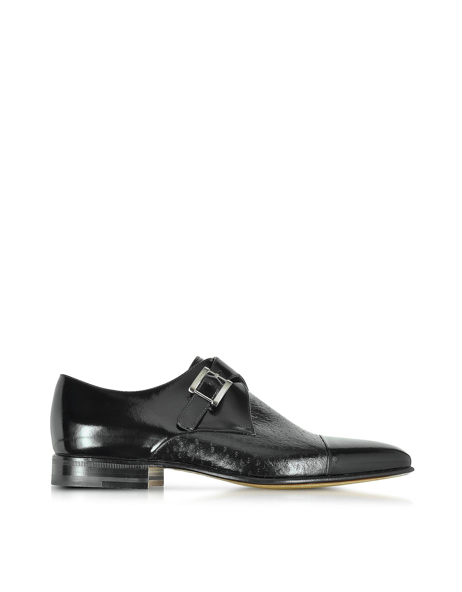 Moreschi Designer Shoes, Nancy Black Peccary Leather Monk Strap Shoe