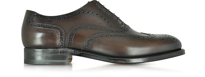 Windsor Dark Brown Leather Wingtip Oxford Shoe - Moreschi